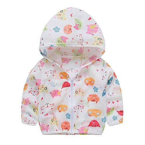 HUHU833 Toddler Baby Girls Summer Cartoon Sunscreen Jackets Hooded Outerwear Fruit Print Coats - for 2-7 Years Girl