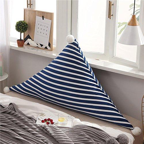 MMM- Chevet Souple Triangulaire Grand Dossier Lit Canapé Oreiller Lavable Double Tapis de Coussin (Couleur : Bleu, taille : 150*75cm)