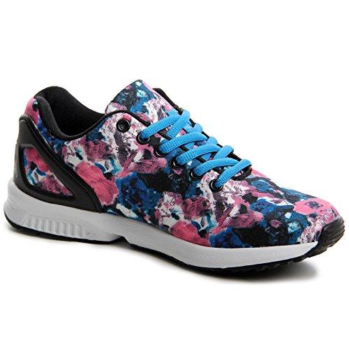 topschuhe24 548Femme Sneaker Chaussures de sport Bleu