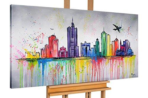 KunstLoft® cuadro acrílico 'Frankfurt desde el avión' 140x70cm   Original pintura XXL pintado a mano en lienzo   horizonte frankfurt ciudad   Mural acrílico de arte moderno en una pieza con marco