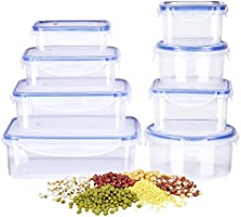 Deik Food Storage Containers, Lunch Box, Plastic Containers with Snap Locking Lid, BPA-Free, Comparable to Tupperware Set, Microwave, Freezer, Dishwasher Safe, 8 Pack