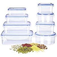 Caja de Comida DEIK, Fiambrera de Plástico Envase de Alimento Set, Contenedor de Almacenamiento de Alimentos con Tapa de Bloqueo Tapa, 8 Unidades, Apta  para Lavavajillas