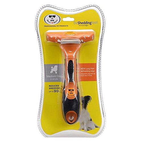 Hundebürste Pflegetrimmer Anti-Haaren deShedding Tool für Hunde, Katzen, Pferde und andere Haustiere Größe M - 3