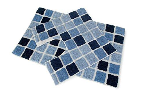 Mosaic Squares Blocks 2 Piece Soft Bath Mat & Pedestal Toilet Mat Bathroom Set (Navy/Blue)