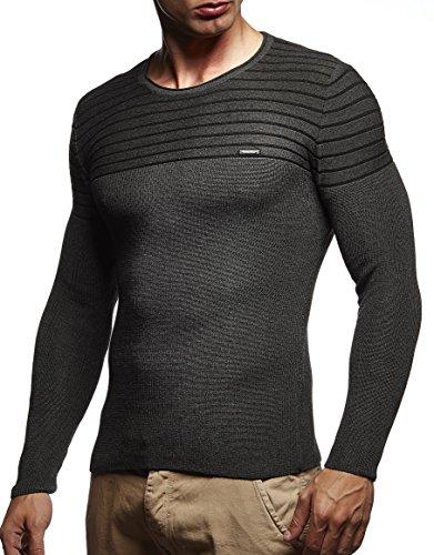 LEIF NELSON Herren Pullover Strickpullover Hoodie Basic Rundhals Crew Neck Sweatshirt longsleeve langarm Sweater Feinstrick LN1575 Anthrazit-Schwarz
