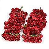 doitsa 144pcs Beau papel Artificial rosa flor boda tarjeta embellissement Candy Box Accesorios Papel Flor accesorios pequeñas flores en papier- rojo