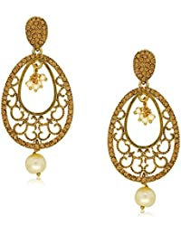 Spargz Designer Gold Plated Alloy MetalAD Stone Dangle Earring For Women AIER 463