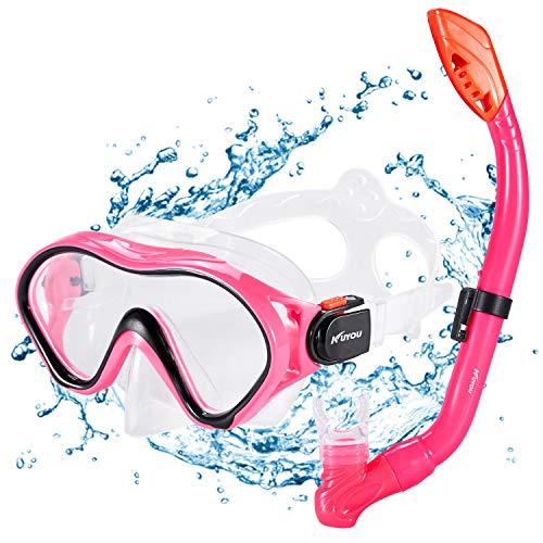 Kuyou Premium Kinder Schnorchelset Taucherbrille mit Schnorchel Tauchset gehärtete Anti-Beschlag Gläser Taucherbrille Wasserdichte Tauchmaske und trockenem Schnorchel Set (Rot) -