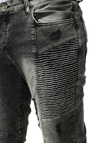 Free Side Herren Destroyed Jeans SHANGHAI Slim Fit Destroyed Vintage Look mit Wellenoptik Grau