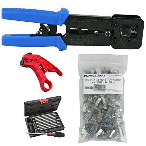 Platinum Tools 100054 EZ-RJPRO Crimper, Cat5e/CAT6 Connectors, Cutter, Tool Kit by Platinum Tools