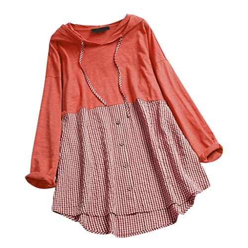 FRIENDGG Kleid Damen Patchwork Plaid Oansatz Mit Kapuze Langarm Plus Size Top T-Shirt Bluse Minirock EU38-50 -
