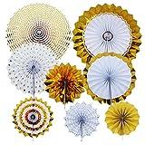 YXJD Party Deko Set 8pcs Papierfächer Papierrosetten Blumen Hängedeko D. 8/10/12/16 Zoll für Geburtstagsparty Feier Hochzeit Zimmerdeko Gold Serie
