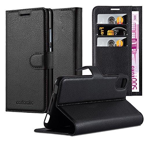 Cadorabo Hülle für HTC Desire 10 Lifestyle/Desire 825 - Hülle in Phantom SCHWARZ - Handyhülle mit Kartenfach & Standfunktion - Case Cover Schutzhülle Etui Tasche Book Klapp Style