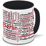 Berlin-Tasse Tagcloud - weiß / schwarz - Tasse mit typischen Wörtern im Berliner Dialekt