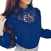 Langarmshirts CLOOM Sommer Tops Frauen einfarbige T-Shirt Hollow Out Patchwork Bluse Damen O-Ausschnitt Oberteile... preisvergleich bei billige-tabletten.eu