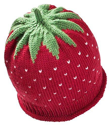 Fruchtige Erdbeer-Wintermütze für Babys & Kleinkinder in bordeaux, Kopfumfang...