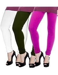 ROOLIUMS ® (Brand Factory Outlet) Women Winter Woolen Lycra Leggings (Pack Of 3) Free Size (White, Mandhi Green...