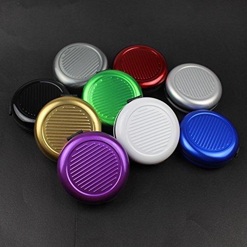Generic rojo:–Dispensador de monedas Euro caja de almacenamiento bolso de mano tarjetero titulares organizador de monedas con integrado espejo de maquillaje redondo aluminio 9colores