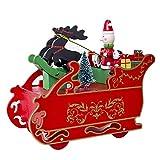 Qiusa Kreative Weihnachtsdekoration, Hölzerne Spieluhr Geschenk + Pferdeschlitten Desktop Holzschlitten + Home Decor Ornament für Büro, Raum