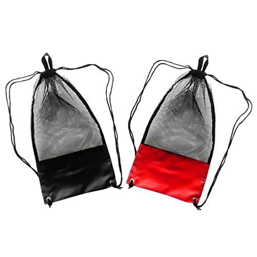 Sharplace (2 Stück Packung) Netzbeutel Kordelzug, 48 x 27 cm, Sport Rucksack / Mesh Bag / Stausack / Tauchtasche / Schnorcheltasche / Flossentasche / Sport Netztasche (schwarz und rot)