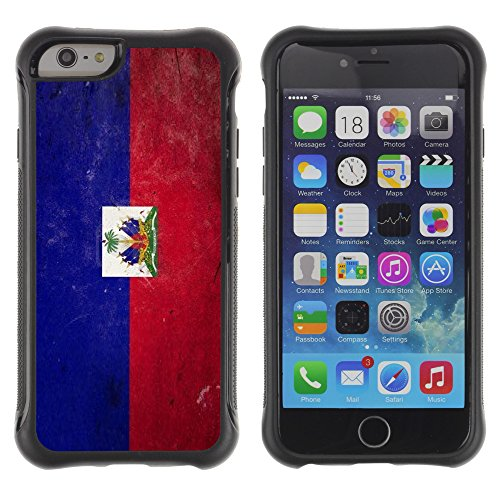 Graphic4You Vintage Uralt Flagge Von Jamaika Jamaikaner Design Shockproof Anti-Rutsch Weichen Hülle Case Tasche Schutzhülle für Apple iPhone 6 / 6S Drapeau Haïtien Haïti
