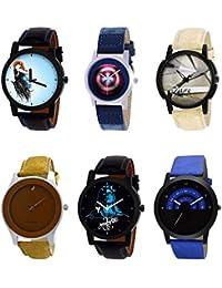NIKOLA Best 3D Design Mahadev Captain America Smokey Black Blue And Brown Color 6 Watch Combo (B22-B43-B20-B60...