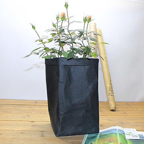 Igemy lavable Kraft Sac en papier pour plantes Pots de fleurs multifonction Sac de rangement de maison Réutilisez Pots de fleurs décoration de maison noir