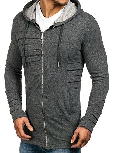 BOLF – Felpa con cappuccio – Sweatshirt – Zip – Hoodie – Slim – Motivo – Uomo – 1A1 Antrazite