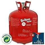 PartyMarty Helium-Ballon-Set: Ballongas Helium Flasche inkl. 50x Ballonband m. Schnell-Verschluss (XX-Large) TÜV Rheinland geprüft EN ISO11118