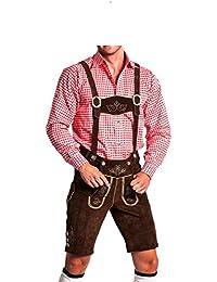 Herren Trachtenlederhose - kurz mit abnehmbaren Hosenträgern - Trachten Lederhose Original FROHSINN - hellbraun, dunkelbraun und schwarz - (52, dunkelbraun)
