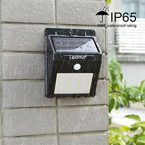 Image of LEDMO Solar Light, Led Solar Wall Light White 6000K PIR Motion Sensor and Light Sensor 20 LED Super Bright Waterproof Solar Energy Powered Greeting Light with Intelligient Modes for Outdoor Wall, Garden, Fence, Patio, Deck, Yard, Driveway, Stairs (4 packs)