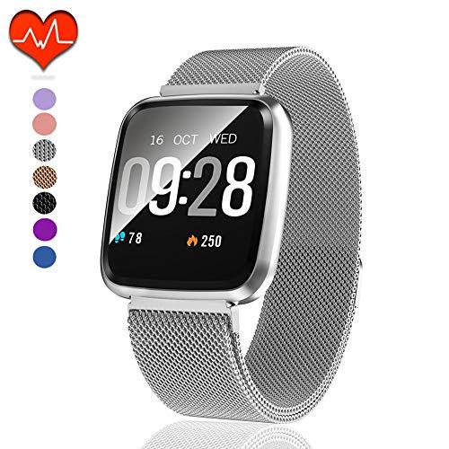 Polywell Fitness Armbanduhr mit Herzfrequenz, Fitness Tracker, Bluetooth Sportuhr Aktivitätstracker Schrittzähler, Schlaf Monitor, Kalorienzähler, Pulsuhr für Android/iOS (Herzfrequenz-armband Bluetooth)