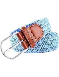 MESHIKAIER Puro Color Unisex Trenzado Cinturón Mujer Hombre Elástico  Cinturón Casual Tejido Cinturón + ... 82027468138a