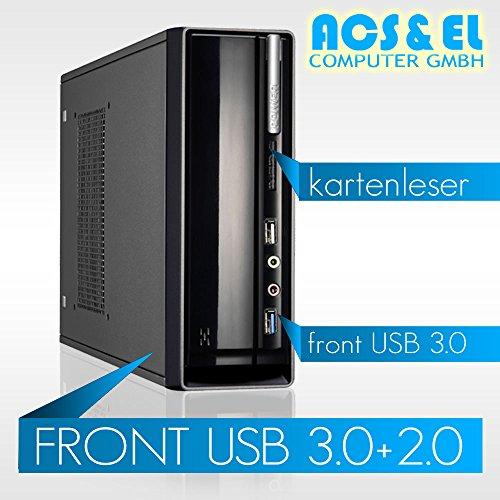 Xercon Mini ITX * LÜFTERLOS * PC System Intel J3455 4x 2.30GHz, Quadcore | 8GB DDR3-1600 | 120GB ultraschnelle SSD Disk | 8x Slim DVD-Brenner | Intel HD Graphics 400 | HDMI Ausgang | 65W Netzteil, extern | 5.1 Soundchip | [98758_OHNE]