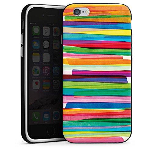 Apple iPhone 7 Tasche Hülle Flip Case Streifen Wasserfarbe Bunt Silikon Case schwarz / weiß