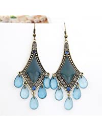 Cinderella Collection By Shining Diva Silver & Sky Blue Crystal Chandelier Earrings For Women 6992er