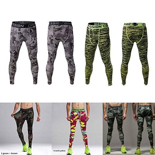 Latinaric Herren Hose Fitness Sport Jogginghose Compression Tights Grau Tarnung