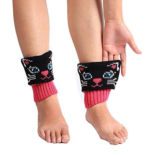 Vovotrade Reizende Katze-Frauen-Winter-warme gestrickte Socken-Bein-Wärmer-Aufladung Häkelarbeit-kurze Socken (Schwarz) (Gestrickte Bein-wärmer)