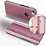 Funda iPhone 6S Plus 5.5 Inch Case, Carcasas para iPhone 6 Plus, LEMAXELERS iPhone 6 Plus Funda de lujo con espejo Caja de maquillaje con marco de cuero de la PU Flip Bookstyle Funda con billetera [Pie de apoyo] Cierre magnético Funda protectora de cuerpo completo para iPhone 6 Plus / 6S Plus (5.5 Inch) Mirror PU : Rose Gold
