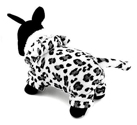 Ranphy Tenue de petit chien chat Vêtements Polaire Snow Leopard Panthera Uncia Costume d'Halloween Vêtements