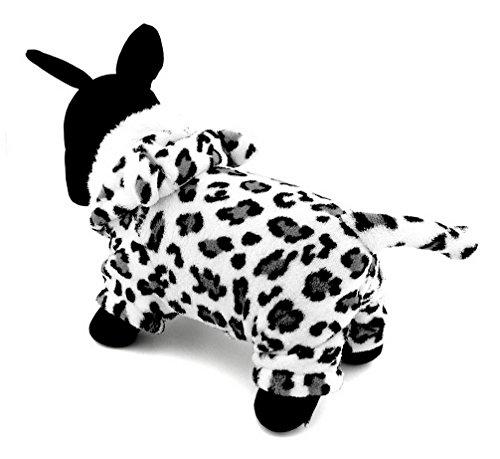 kleinen Hund Kleidung Fleece Snow Leopard Panthera Uncia Halloween Kostüm Kleidung Weiß (Leopard Halloween-kostüme)