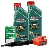 2x 1 L = 2 Liter Castrol Magnatec Diesel 5W-40 DPF Motor-Öl inkl. Ölwechsel-Anhänger und Einfülltrichter