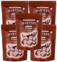 Harveys Crunchy & Creame Gourmet Delicacies Cream Wafer Biscuit 110 g Pouch Pack - Chocolate Flavoured (Pack of 5)