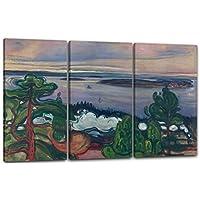 Edvard Munch - Tren de humo (1900), 120 x 80 cm (3 x 40x80cm) (varios tamaños disponibles), Impresión de la lona enmarcada en el marco de madera genuino y listo para colgar, impresión de alta calidad hecha a mano. Estilo: Pintura abstracta, Arte abstracto, expresionismo
