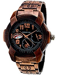 Golden Bell Original Chronograph Look Black Dial Copper Steel Chain Analog Wrist Watch For Men - GB-627