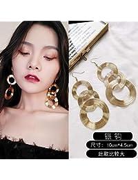 ce45a6e4a90d Chwewxi Pendientes Retro Grandes Temperamento Femenino Círculo de la Moda  Coreana Pendientes Largos