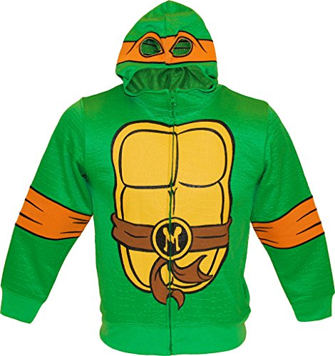 Teenage Kostüm Splinter Turtles Mutant Ninja (TMNT Teenage Mutant Ninja Turtles Reptilian Print Jungen Kostüm Hoodie (Large 10/12,)