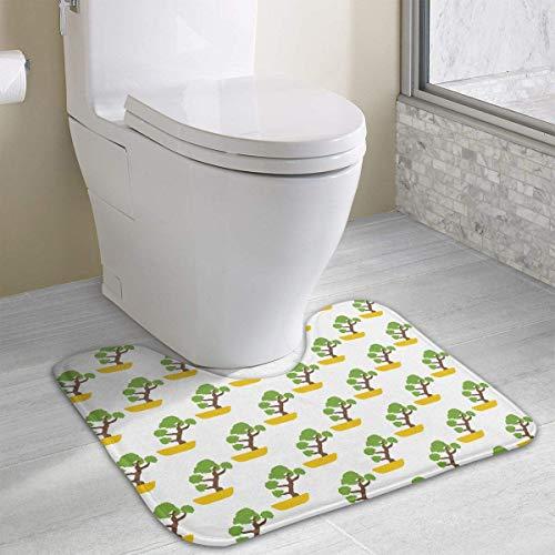 Hoklcvd Japanischer Bonsai-Baum-Muster-U-förmige Toiletten-Boden-Wolldecke Rutschfeste Toiletten-Teppiche Badematten-Wolldecke