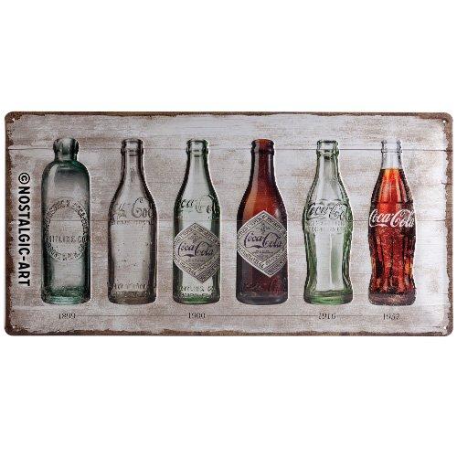 Nostalgic-Art 27021Coca-Cola Bottle Timeline, Cartel de chapa 25x 50cm, metal, multicolor, 25x 50x 0.2cm
