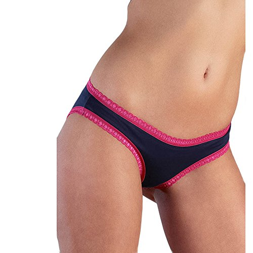 Damen Slip mit Spitze - Bikini Form // GOTS zertifiziert // ökologisch | fair | Bio-Baumwolle Dunkelblau